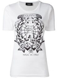 Dsquared2 Long Tattoo Graphic T Shirt White