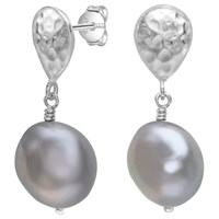 Dower And Hall Sterling Silver Freshwater Pearl Drop Earrings Dove Grey