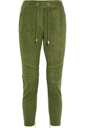 Balmain Quilted Cropped Suede Track Pants Army Green