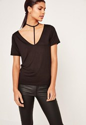 Missguided Tall Black Harness Detail T Shirt