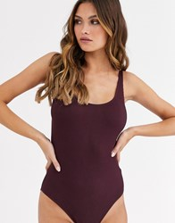 Weekday Cat Ribbed Body In Wine Red