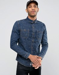 Bellfield Acid Wash Denim Shirt Navy