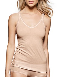 Fine Lines Pure Cotton Thin Strap V Neck Camisole Skin
