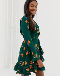 Influence Wrap Frill Skirt Dress In Floral Print Green And Orange Flora
