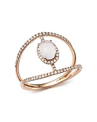 Meira T 14K Rose Gold Chalcedony Cage Ring With Diamonds