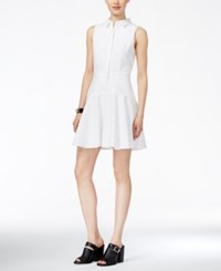 Armani Exchange Textured Fit And Flare Shirtdress Solid White