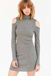 Silence And Noise Cold Shoulder Turtleneck Bodycon Mini Dress Grey