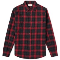 Saint Laurent Classic Texas Check Shirt Red
