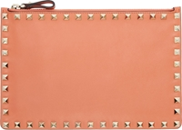 Valentino Coral Leather Rockstud Pouch