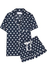Three J Nyc Eloise Polka Dot Cotton Poplin Pajama Set Navy