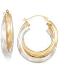 Signature Gold Two Tone Double Hoop Earrings In 14K Gold