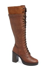 Women's Steve Madden 'Nitefall' Tall Lace Up Boot Cognac Leather