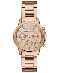 Ax Armani Exchange Women's Chronograph Rose Gold Tone Stainless Steel Bracelet Watch 36Mm Ax4326