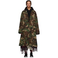 Vetements Green Camo Scarf Trench Coat