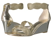 Adrianna Papell Adelaide Platinum Metallic Rope Women's Wedge Shoes Gold