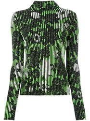 Christian Wijnants Striped Floral Top Women Polyester Viscose Xs Green