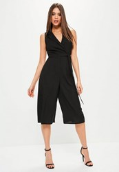 Missguided Black Tuxedo Sleeveless Wrap Culotte Jumpsuit