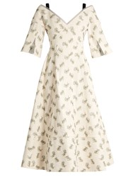 Erdem Karol Ottoman Cotton Blend Dress Blue White