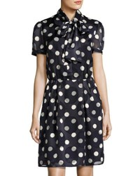 Pink Tartan Tie Neck Polka Dot Dress Blue White