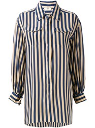 Fendi Striped Long Sleeve Shirt Blue
