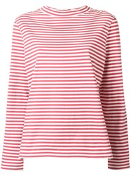 Mih Jeans High Neck Striped T Shirt Red