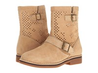Hush Puppies Aydin Catelyn Perf Light Tan Suede Women's Pull On Boots Beige