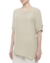 Caroline Rose Crinkled Asymmetric Linen Tunic Women's