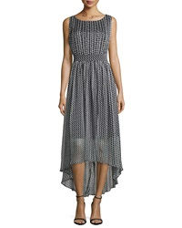 Carmen By Carmen Marc Valvo Sleeve Houndstooth Dress W High Low Hem