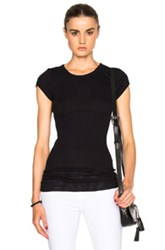 Enza Costa Rib Fitted Cap Sleeve Tee In Black