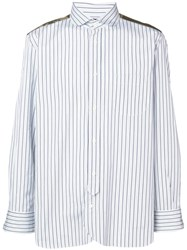Junya Watanabe Man Satin Panelled Stripe Shirt Blue
