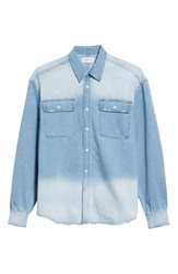 Ovadia And Sons 'S Oversize Distressed Denim Shirt Washed Denim