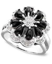 Macy's Onyx And Diamond Accent Flower Ring In Sterling Silver