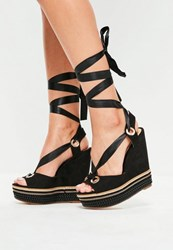 Missguided Black Chain Detail Ribbon Tie High Wedge Sandals