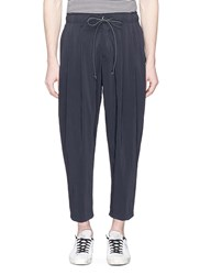 Attachment Cropped Pleated Jogging Pants Blue