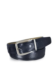 Moreschi Lione Navy Blue Peccary And Leather Belt Brown