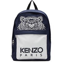 Kenzo Navy And White Limited Edition Large Colorblock Tiger Backpack