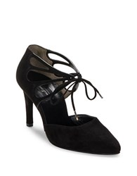 Paul Green Justeen Suede Cutout Lace Up Pumps Black