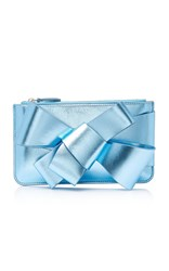 Delpozo Metallic Mini Box Leather Clutch Blue