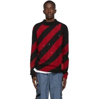 Off White Red Mohair Diag Sweater
