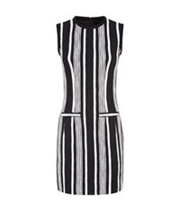 Carven Fancy Striped Tweed Dress Black