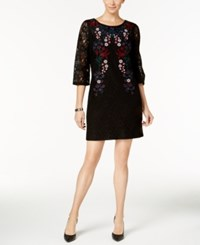 Charter Club Petite Embroidered Lace Dress Created For Macy's Deep Black