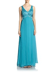 Sue Wong Embellished Empire Panel Gown Turquoise