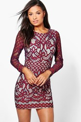 Boohoo Bria Lace Open Back Bodycon Dress Red
