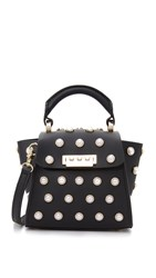 Zac Posen Eartha Imitation Pearl Top Handle Mini Cross Body Bag Black