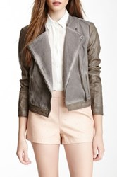 Bnci By Blanc Noir Garment Dyed Faux Leather Jacket Gray