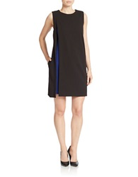 Julia Jordan Contrast Overlay Shift Dress Black Cobalt