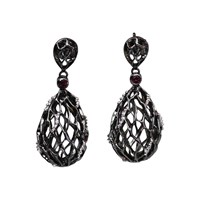 Bellus Domina Rhodium Plated And Rhodolite Hive Earrings Black
