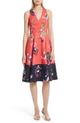 Ted Baker Women's London Esselle Stretch Cotton Midi Dress Mid Red