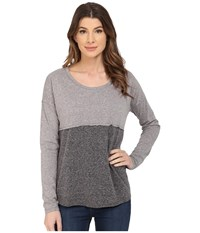 Mavi Jeans Color Blocking Top Long Sleeve Grey Melange Women's Long Sleeve Pullover Gray