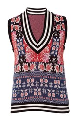 Anna Sui Peacock Jacquard Vest Blue Red White